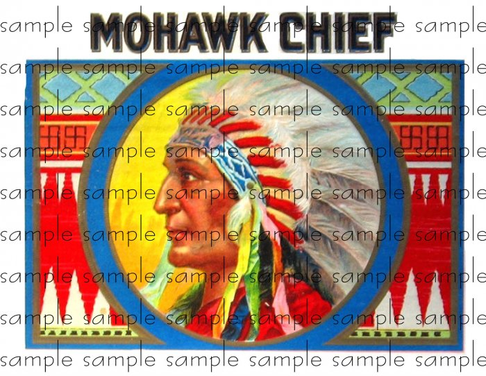 Mohawk Chief Vintage Digital Cigar Box Art Ephemera Scrapbooking Altered Art Decoupage