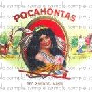 Pocahontas Vintage Digital Cigar Box Art Ephemera Scrapbooking Altered Art Decoupage