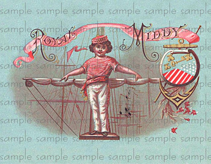 Royal Middy Vintage Digital Cigar Box Art Ephemera Scrapbooking Altered Art Decoupage