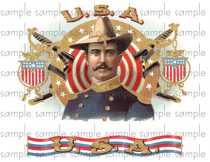 U.S.A Vintage Digital Cigar Box Art Ephemera Scrapbooking Altered Art Decoupage