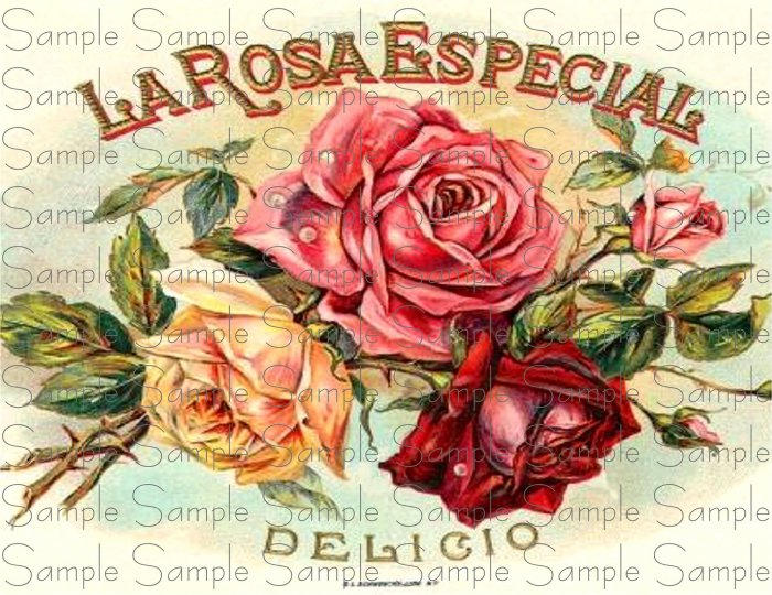 La Rosa Especial Digital Cigar Box Art Ephemera Scrapbooking Altered Art Decoupage