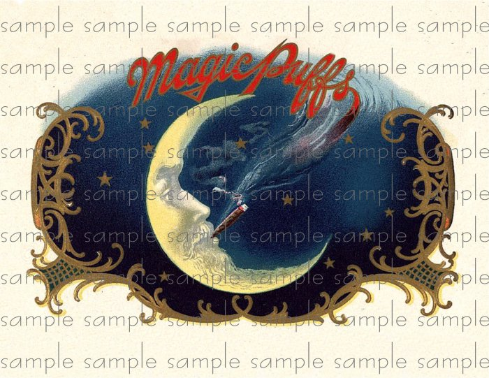 Magic Puffs Digital Cigar Box Art Ephemera Scrapbooking Altered Art Decoupage