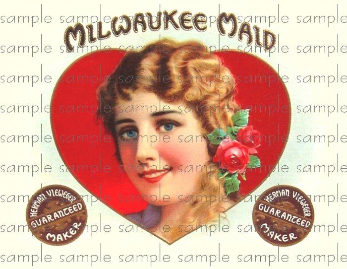 Milwalkie Maid Digital Cigar Box Art Ephemera Scrapbooking Altered Art Decoupage