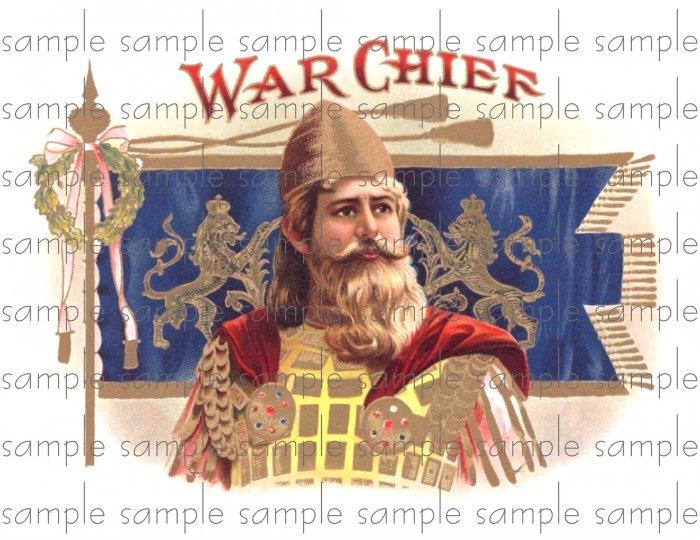 War Chief Digital Cigar Box Art Ephemera Scrapbooking Altered Art Decoupage