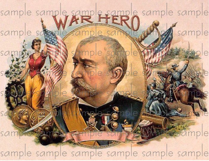 War Hero Digital Cigar Box Art Ephemera Scrapbooking Altered Art Decoupage
