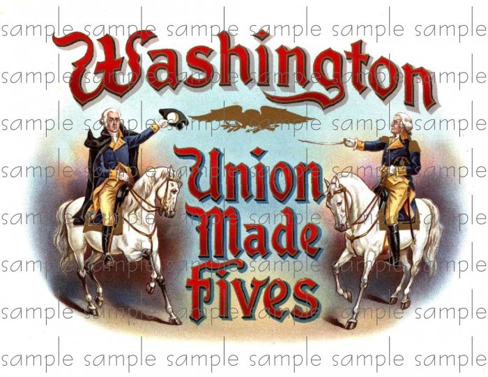Washington Union Made Fives Cigar Box Art Ephemera Scrapbooking Altered Art Decoupage