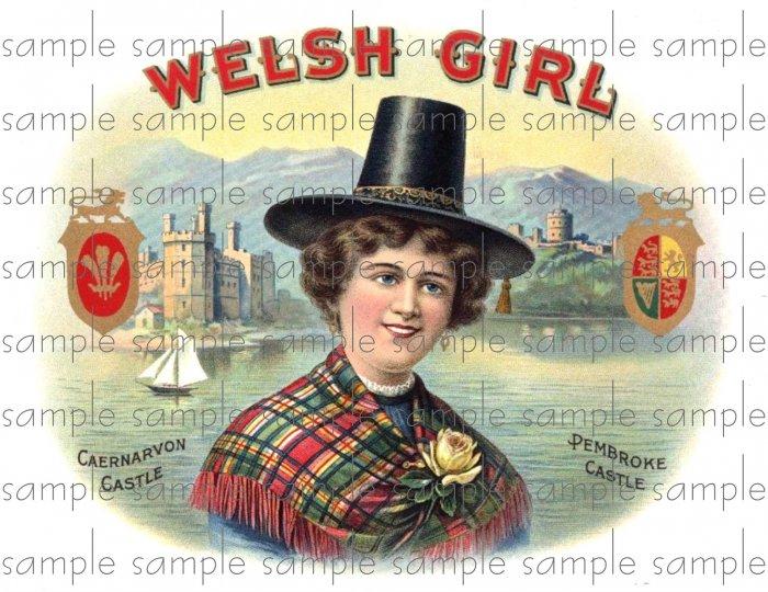 Welsh Girl Cigar Box Art Ephemera Scrapbooking Altered Art Decoupage