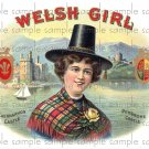 Welsh Girl Cigar Box Art Ephemera Scrapbooking Altered Art Decoupage