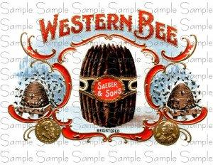 Western Bee Cigar Box Art Ephemera Scrapbooking Altered Art Decoupage