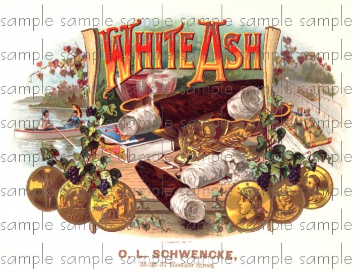 White Ash Cigar Box Art Ephemera Scrapbooking Altered Art Decoupage