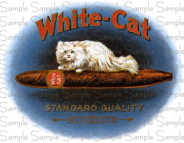 White Cat Cigar Box Art Ephemera Scrapbooking Altered Art Decoupage