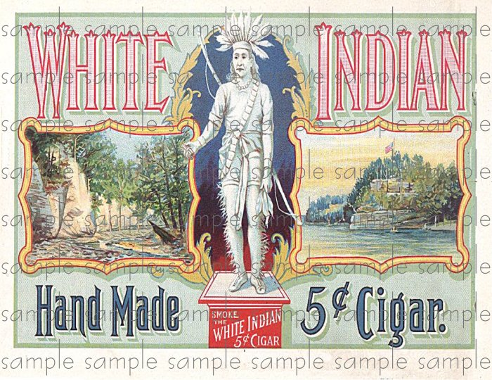 White Indian Cigar Box Art Ephemera Scrapbooking Altered Art Decoupage