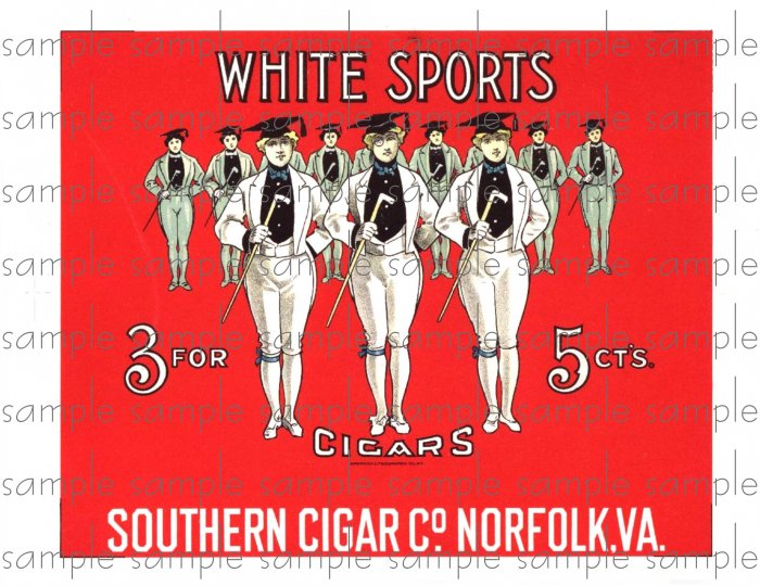 White Sports Cigar Box Art Ephemera Scrapbooking Altered Art Decoupage