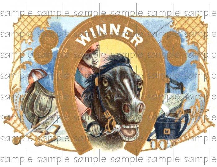 Winner Cigar Box Art Ephemera Scrapbooking Altered Art Decoupage