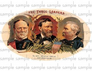 Three Leaders Cigar Box Art Ephemera Scrapbooking Altered Art Decoupage