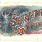 Sensation Vintage Digital Cigar Box Art Ephemera Scrapbooking Altered Art Decoupage