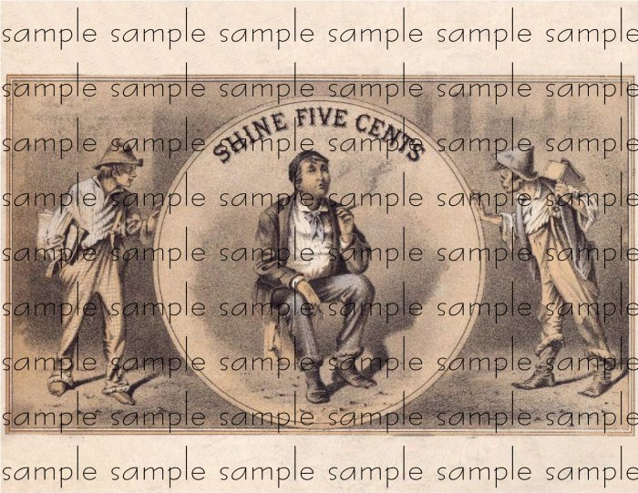 Shine Five Cents Vintage Digital Cigar Box Art Ephemera Scrapbooking Altered Art Decoupage