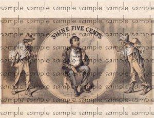 Shine Five Cents Vintage Digital Cigar Box Art Ephemera Scrapbooking Altered Art Decoupage