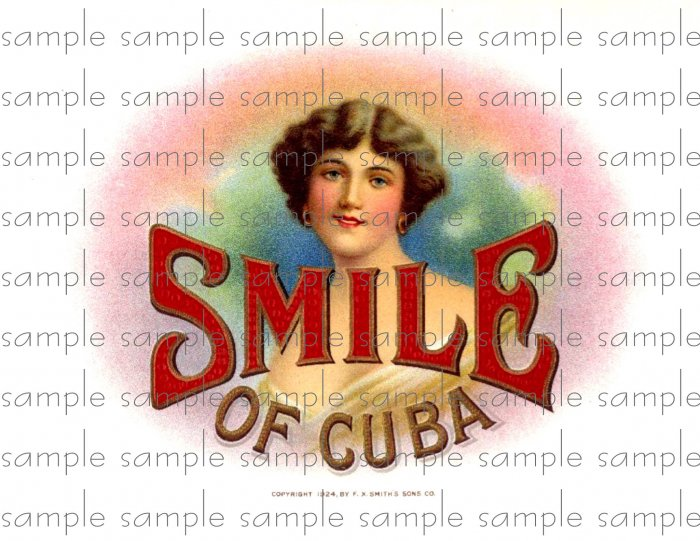 Smile of Cuba Vintage Digital Cigar Box Art Ephemera Scrapbooking Altered Art Decoupage