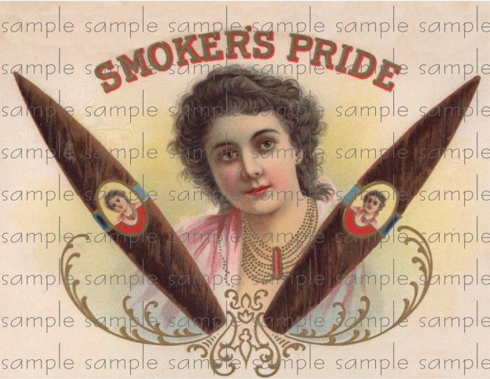 Smokers Pride Vintage Digital Cigar Box Art Ephemera Scrapbooking Altered Art Decoupage