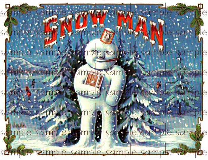 Snow Man Vintage Digital Cigar Box Art Ephemera Scrapbooking Altered Art Decoupage