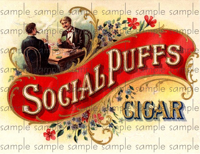 Social Puffs Vintage Digital Cigar Box Art Ephemera Scrapbooking Altered Art Decoupage
