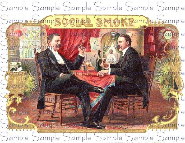 Social Smoke Vintage Digital Cigar Box Art Ephemera Scrapbooking Altered Art Decoupage