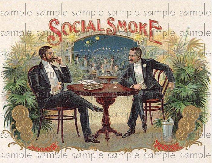 Social Smoke 2 Vintage Digital Cigar Box Art Ephemera Scrapbooking Altered Art Decoupage