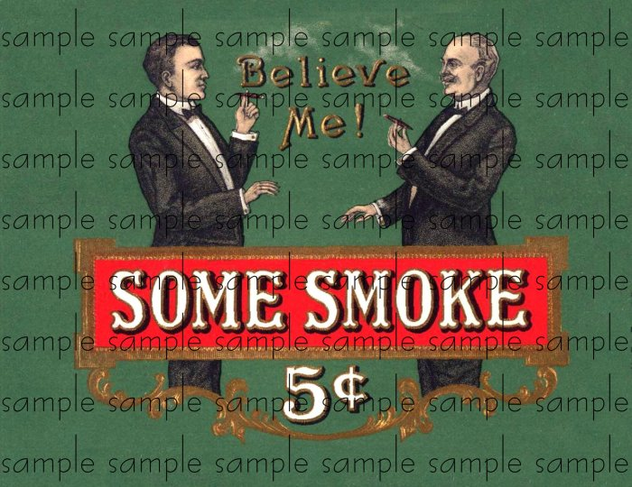 Some Smoke Vintage Digital Cigar Box Art Ephemera Scrapbooking Altered Art Decoupage