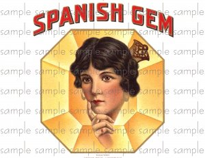 Spanish Gem Vintage Digital Cigar Box Art Ephemera Scrapbooking Altered Art Decoupage