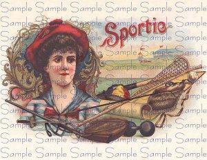 Sportie Vintage Digital Cigar Box Art Ephemera Scrapbooking Altered Art Decoupage