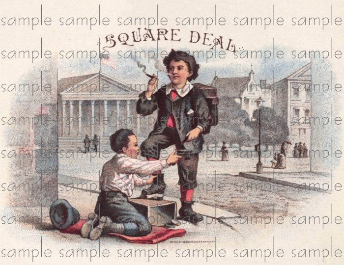 Square Deal Vintage Digital Cigar Box Art Ephemera Scrapbooking Altered Art Decoupage