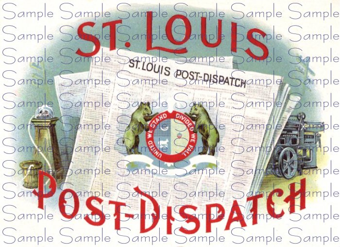 St Louis Post Dispatch Vintage Digital Cigar Box Art Ephemera Scrapbooking Altered Art Decoupage