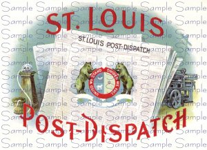 St Louis Post Dispatch Vintage Digital Cigar Box Art Ephemera Scrapbooking Altered Art Decoupage