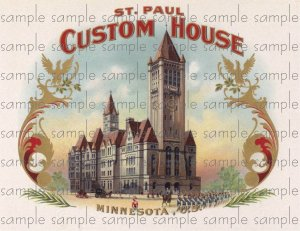 St Paul Custom House Vintage Digital Cigar Box Art Ephemera Scrapbooking Altered Art Decoupage
