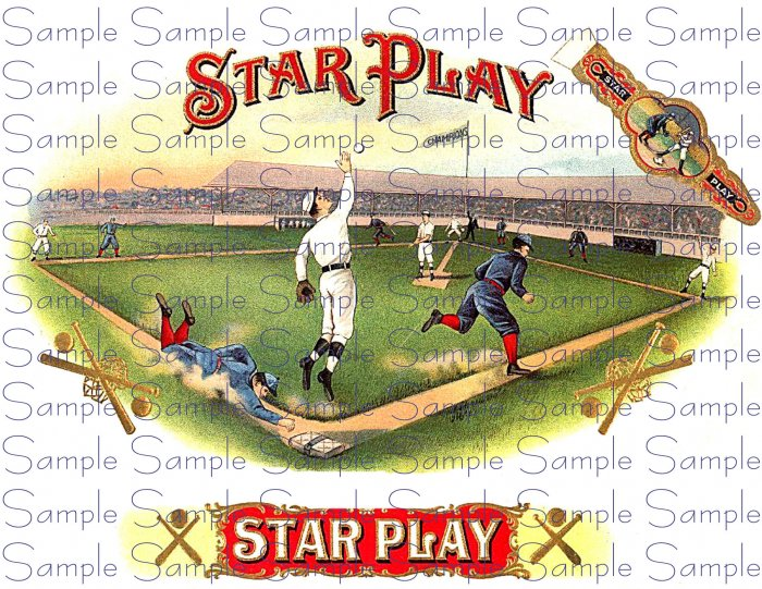 Star Play Vintage Digital Cigar Box Art Ephemera Scrapbooking Altered Art Decoupage