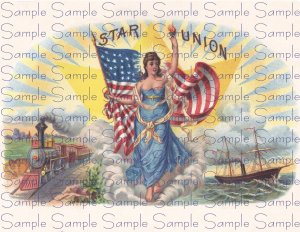 Star Union Vintage Digital Cigar Box Art Ephemera Scrapbooking Altered Art Decoupage