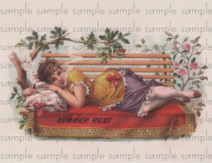 Summers Rest Vintage Digital Cigar Box Art Ephemera Scrapbooking Altered Art Decoupage