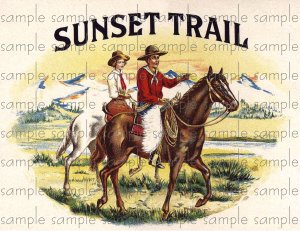 Sunset Trail Vintage Digital Cigar Box Art Ephemera Scrapbooking Altered Art Decoupage