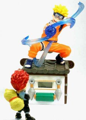 ��Japan Anime Naruto Gaara in Sand Storm Digital Clock & Naruto Uzumaki Figure SetRef#NC001