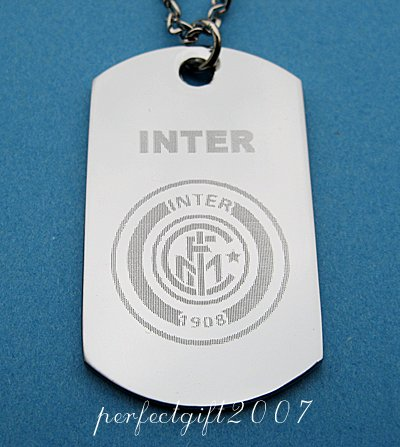 Stainless Steel Inter Milan FC Dog Tag Necklace Pendant