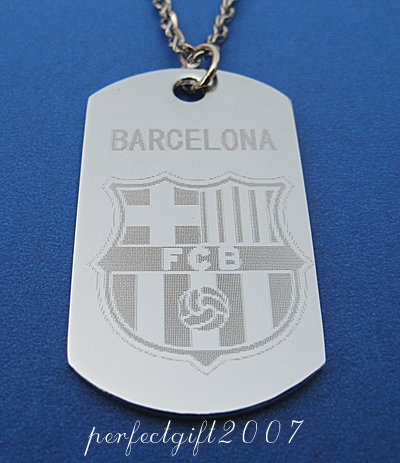 Stainless Steel Barcelona Dog Tag Necklace Pendant
