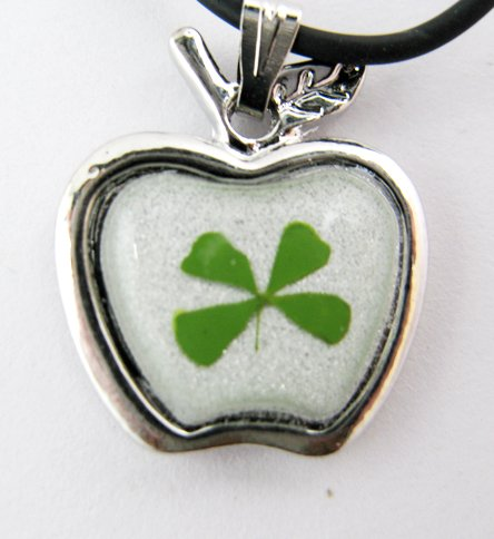 Real Four 4 Leaf Clover Charm Necklace Pendant Apple