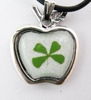 Real Four 4 Leaf Clover Charm Necklace Pendant Apple