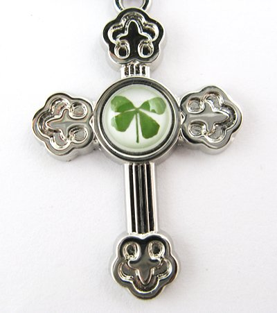 Real Four 4 Leaf Clover Charm Crossing Necklace Pendan