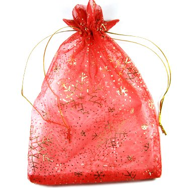 25 Snowflake Jewelry Gift Bag Pouch Organza 5 x 7.5