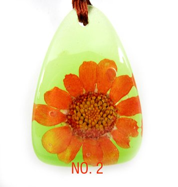 Amber Real Charm Flower Necklace Pendant NO.2