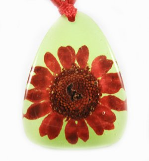 Amber Real Charm Flower Necklace Pendant NO.6