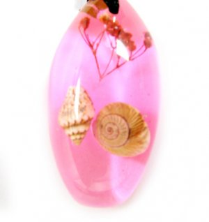 Amber Real Seashell Necklace Pendant Bead Multi-color NO.8