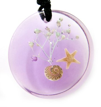 Round Amber Real Seashell Necklace Pendant Multi-color NO.2